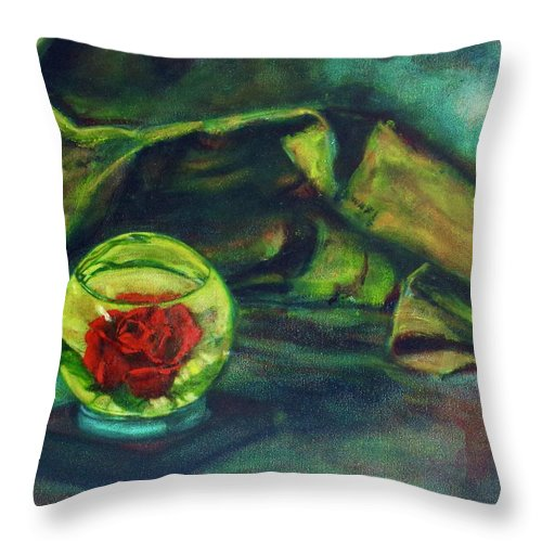 Oil Painting On Canvas Throw Pillow featuring the painting Preserved Rose . . Draped Canvas by Sean Connolly
