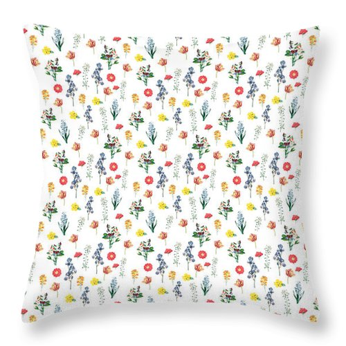 Flower Throw Pillow featuring the digital art Pressed Floral Print by Lauren Amelia Hughes