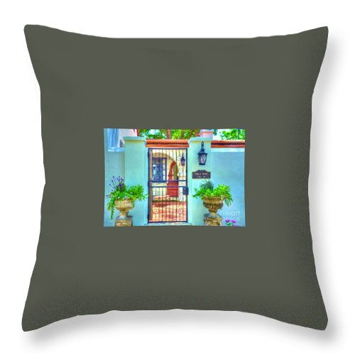 Gate Throw Pillow featuring the photograph Puello House by Debbi Granruth