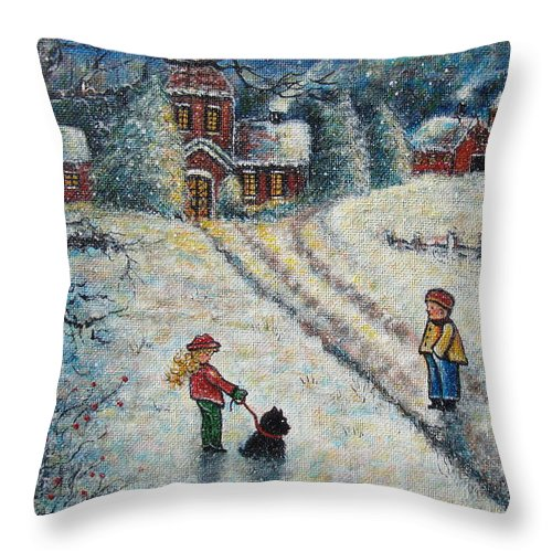 Landscape Throw Pillow featuring the painting Puff and Kassidy by Natalie Holland