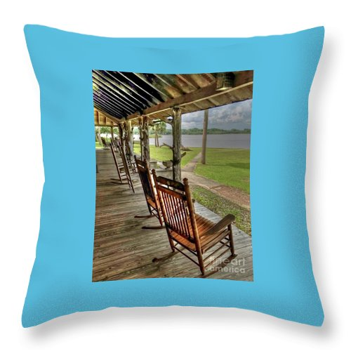 Chair Throw Pillow featuring the photograph Pull Up a Chair by Debbi Granruth