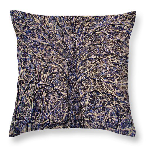 Landscape Throw Pillow featuring the painting Quiet Snowfall. by Natalie Holland