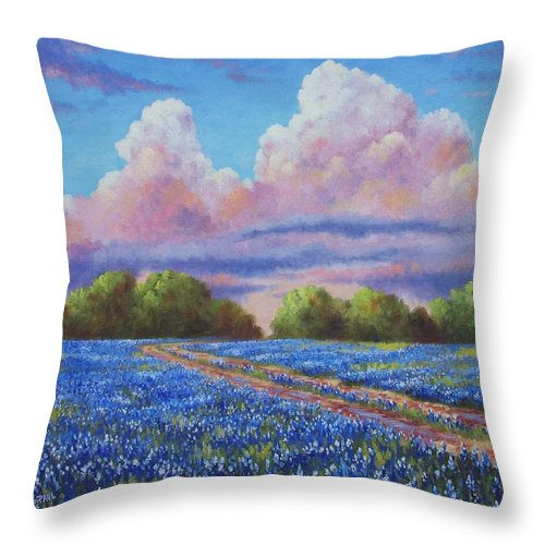 Rain Throw Pillow featuring the painting Rain For The Bluebonnets by David G Paul
