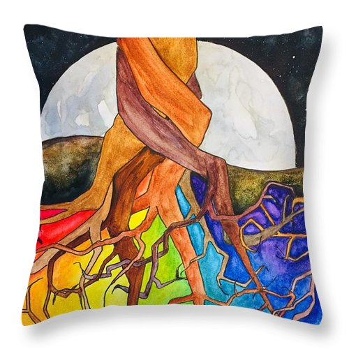 Rainbow Throw Pillow featuring the painting Rainbow Soil with Moon by Vonda Drees
