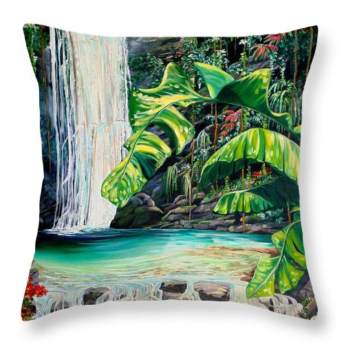 Water Fall Painting Landscape Painting Rain Forest Painting River Painting Caribbean Painting Original Oil Painting Paria Northern Mountains Of Trinidad Painting Tropical Painting Throw Pillow featuring the painting Rainforest Falls Trinidad.. by Karin Dawn Kelshall- Best