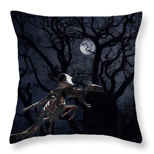 Raven Throw Pillow featuring the photograph Raven and Rat Skeleton in Moonlight - Halloween by Colleen Cornelius