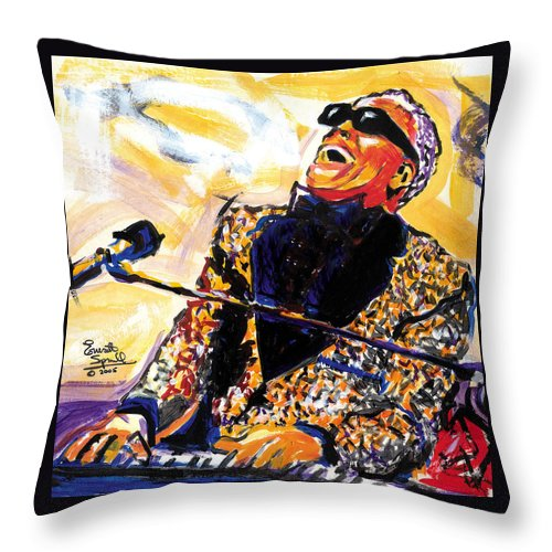 Everett Spruill Throw Pillow featuring the painting Ray Charles by Everett Spruill