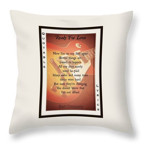Bad Company Throw Pillow featuring the photograph Ready For Love 2 by David Norman