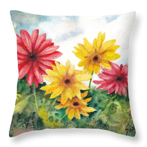 Daisies Throw Pillow featuring the painting Red And Yellow Daisies by Sam Sidders