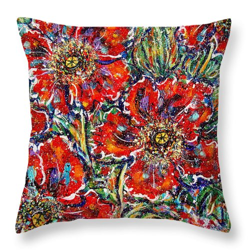 Flowers Throw Pillow featuring the painting Red Fantasy Poppies by Natalie Holland