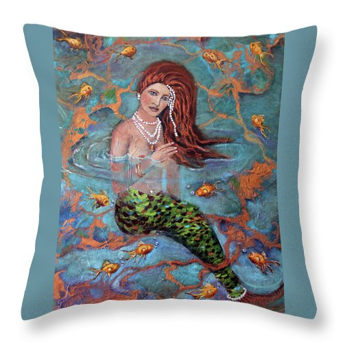 Blue Throw Pillow featuring the painting Red Headed Mermaid Ophelia Painting by Linda Queally by Linda Queally
