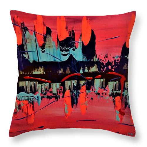 Red Throw Pillow featuring the painting RED by Jimmy Clark