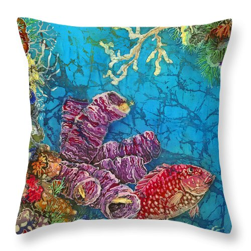 Ocean Throw Pillow featuring the painting Red Snapper by Sue Duda