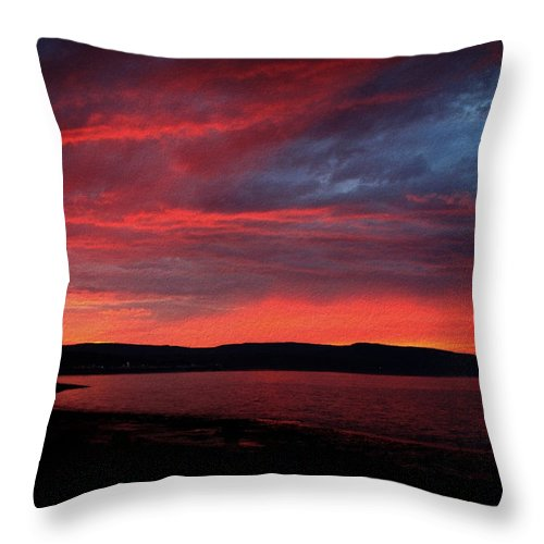 Sunset Throw Pillow featuring the photograph Red Sunset by Trevor Slauenwhite
