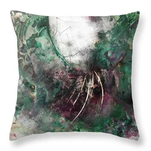 Abstract Art Throw Pillow featuring the painting Relic Queen by Rodney Frederickson