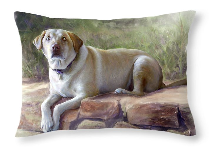 Dog Throw Pillow featuring the painting Restrained Energy- Yellow Labrador Retriever Portrait by Connie Moses
