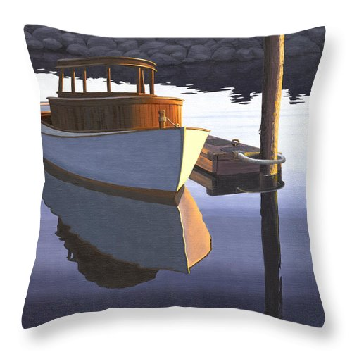 Marine Throw Pillow featuring the painting Retired fisherman by Gary Giacomelli