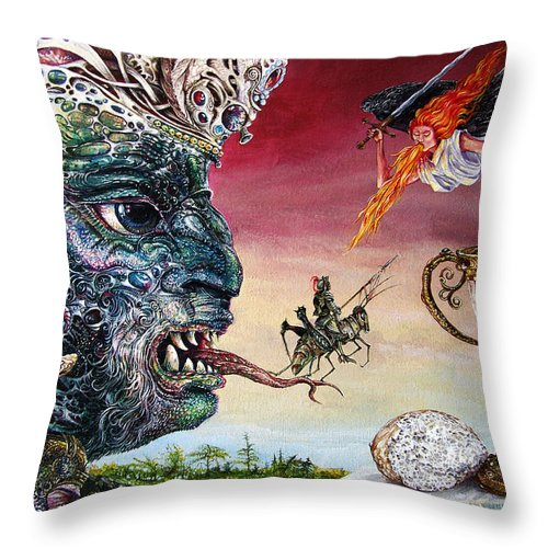 Surrealism Throw Pillow featuring the painting Revelation 20 by Otto Rapp