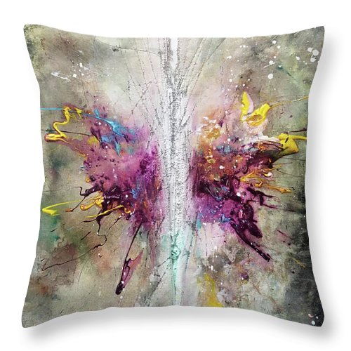 Abstract Art Throw Pillow featuring the painting Reverance by Rodney Frederickson