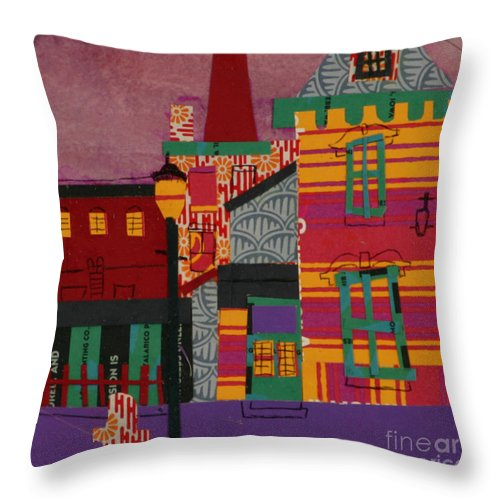 Lowell Throw Pillow featuring the mixed media Revolving Museum by Debra Bretton Robinson
