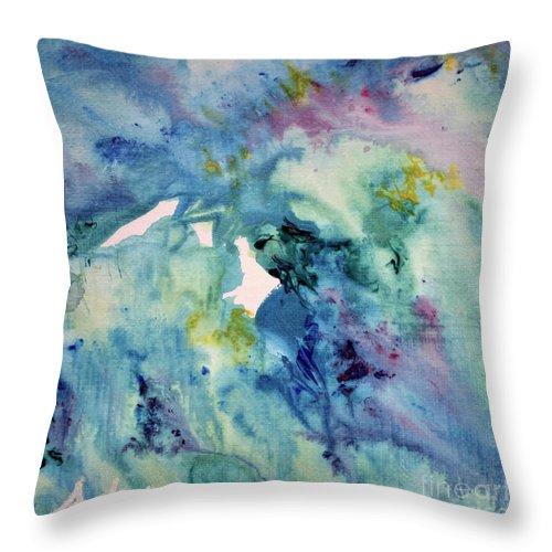Paintings By Felipe Adan Lerma Throw Pillow featuring the painting Ridges Of Spring Light 6x6 Acrylic Watercolor #2 by Felipe Adan Lerma