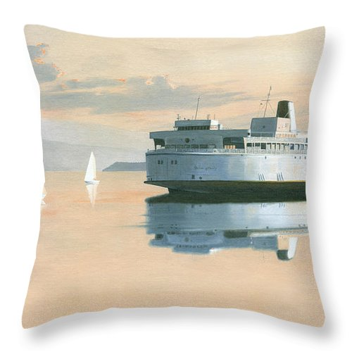 Bc Ferries Throw Pillow featuring the painting Right of way The Queen of Burnaby by Gary Giacomelli