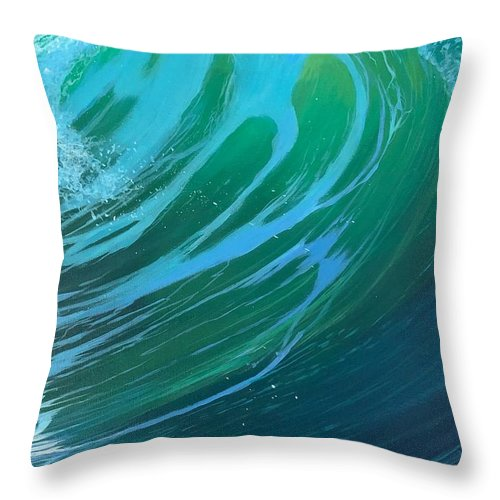 Wave Throw Pillow featuring the painting Riptide by Hunter Jay