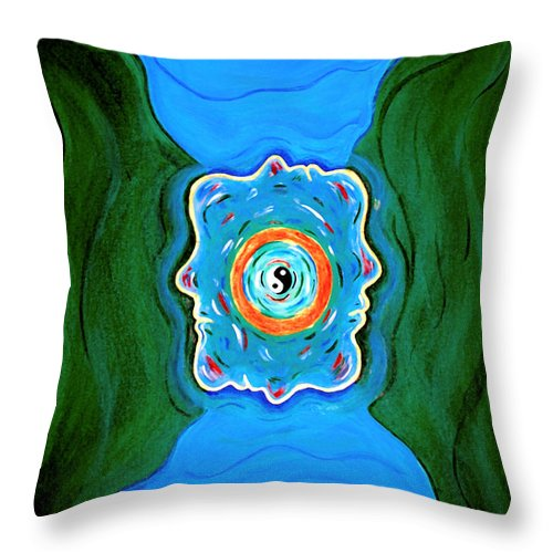Taoist Throw Pillow featuring the painting River Of Dreams by Donna Proctor