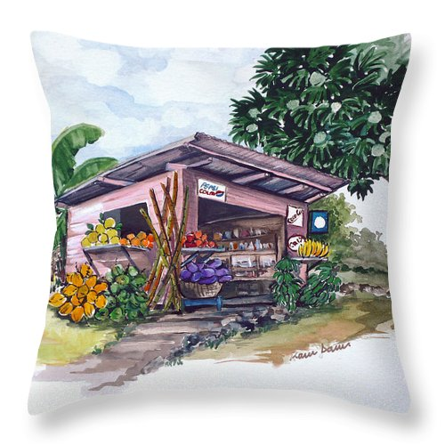 Caribbean Painting Little Shop Fruit & Veg Shop Painting Caribbean Tropical Painting Greeting Card Painting Throw Pillow featuring the painting Roadside Vendor by Karin Dawn Kelshall- Best