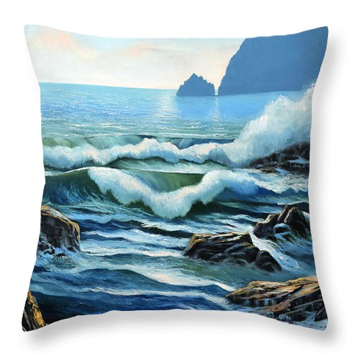 Rolling Breakers Throw Pillow featuring the painting Rolling Breakers by Frank Wilson