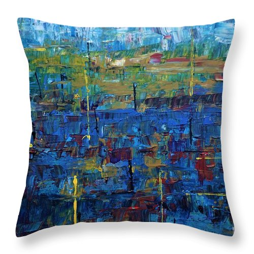 Abstract Throw Pillow featuring the painting Rona Blues by Jimmy Clark