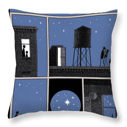 Rooftop Astronomy Throw Pillow