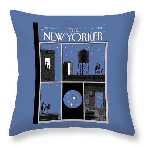 Rooftop Astronomy Throw Pillow featuring the drawing Rooftop Astronomy by Tom Gauld
