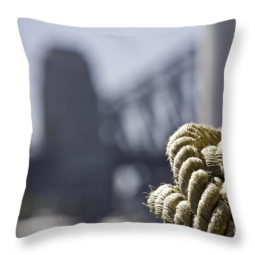 Sydney Harbour Throw Pillow featuring the photograph Ropes with Harbour backdrop by Sheila Smart Fine Art Photography