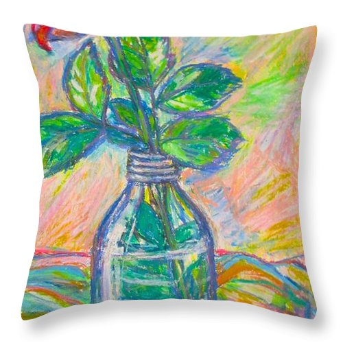 Still Life Throw Pillow featuring the painting Rose in a Bottle by Kendall Kessler