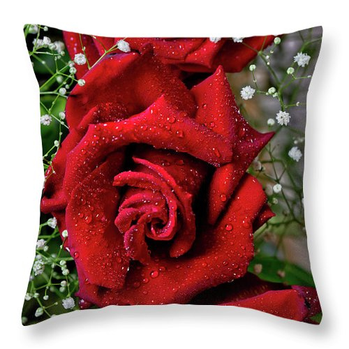 Two Beautiful Red Rose Flowers Throw Pillow featuring the photograph Roses In The Rain by Az Jackson