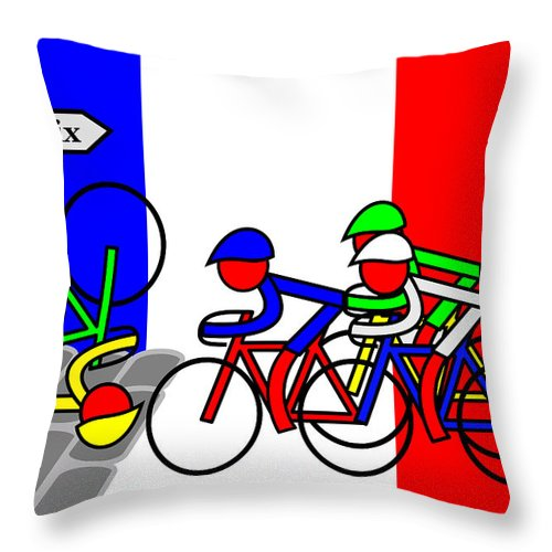 Roubaix Throw Pillow featuring the mixed media Roubaix by Asbjorn Lonvig