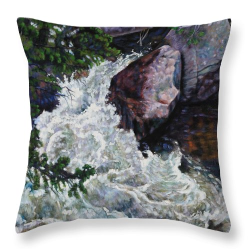 Waterfall Throw Pillow featuring the painting Rushing Stream Colorado by John Lautermilch