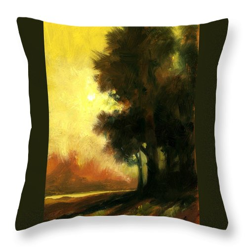 Landscape Throw Pillow featuring the painting Sailors Delight by Jim Gola