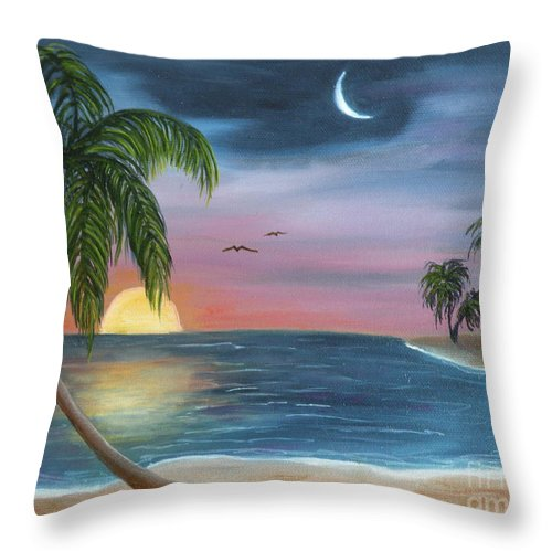 Moonrise Throw Pillow featuring the painting Sailors Moon by Lora Duguay
