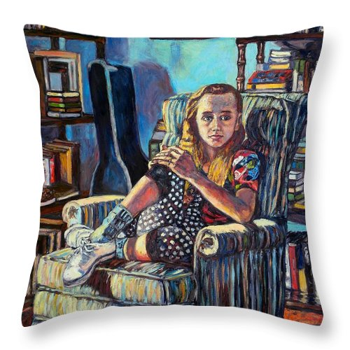 Figure Throw Pillow featuring the painting Samantha by Kendall Kessler