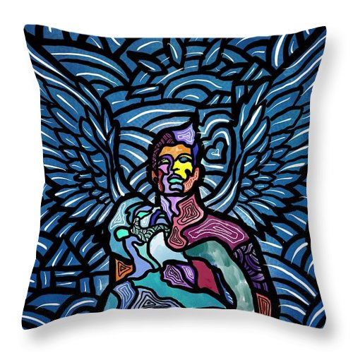 Angels Throw Pillow featuring the digital art Sanctuary by Marconi Calindas