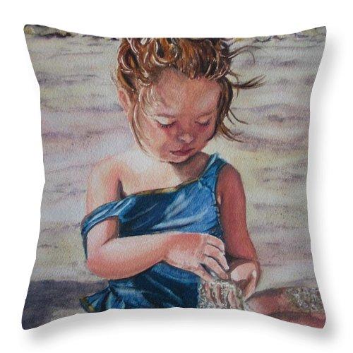 Beach Throw Pillow featuring the painting Sand by Karen Ilari