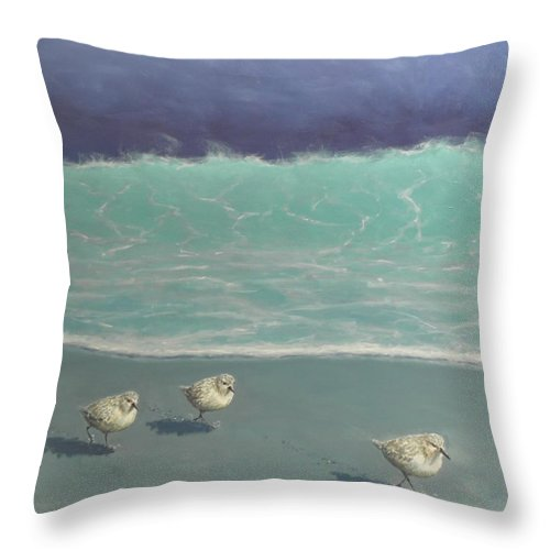 Sandpipers Throw Pillow featuring the painting Sandpipers by Paul Emig