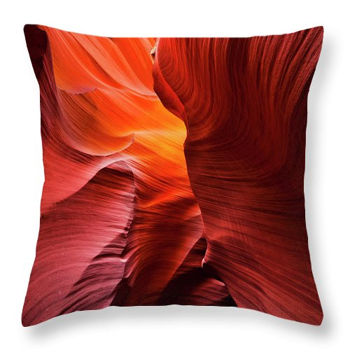 Lower Antelope Canyon Throw Pillow featuring the photograph Sandstone Rock Formations In Antelope Canyon by Neale And Judith Clark