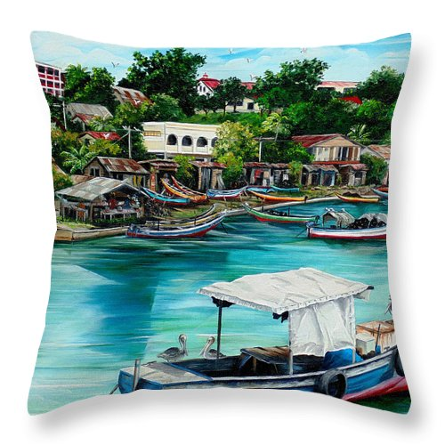 Ocean Painting Sea Scape Painting Fishing Boat Painting Fishing Village Painting Sanfernando Trinidad Painting Boats Painting Caribbean Painting Original Oil Painting Of The Main Southern Town In Trinidad  Artist Pob Throw Pillow featuring the painting Sanfernando Wharf by Karin Dawn Kelshall- Best