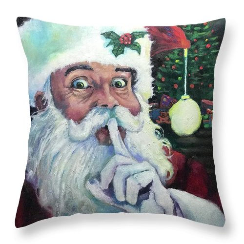 Santa Claus Throw Pillow featuring the painting Santa 2020 by Kevin McKrell
