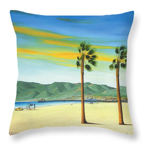 Santa Monica Throw Pillow featuring the painting Santa Monica by Jerome Stumphauzer