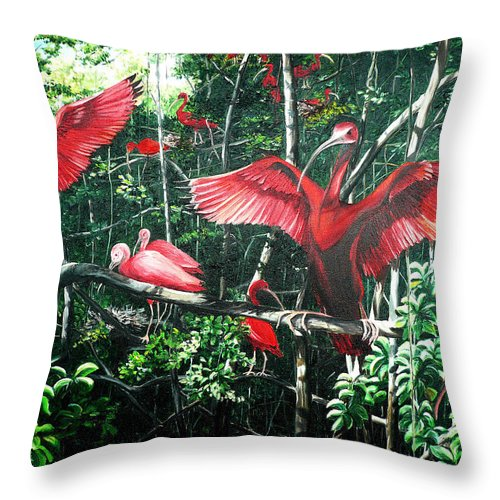 Caribbean Painting Scarlet Ibis Painting Bird Painting Coming Home To Roost Painting The Caroni Swamp In Trinidad And Tobago Greeting Card Painting Painting Tropical Painting Throw Pillow featuring the painting Scarlet Ibis by Karin Dawn Kelshall- Best