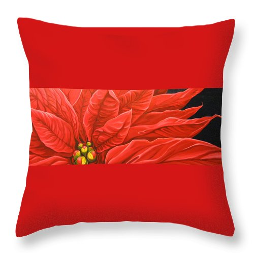 Floral Throw Pillow featuring the painting Scarlet Nights by Hunter Jay